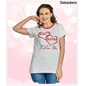 Debackers Womens Couple Roud Neck T Shirt Short Sleeve, Hubby