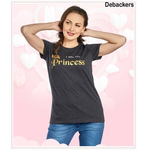 Debackers Womens Couple Roud Neck T Shirt Short Sleeve, Princess,
