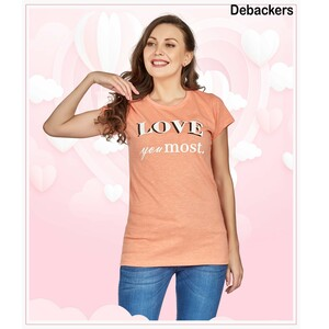 Debackers Womens Couple Roud Neck T Shirt Short Sleeve, Love You Most
