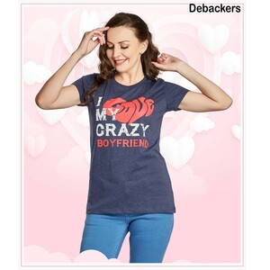 Debackers Womens Couple Roud Neck T Shirt Short Sleeve, Boy Friend