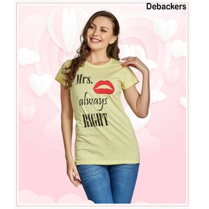 Debackers Womens Couple Roud Neck T Shirt Short Sleeve, Mrs,