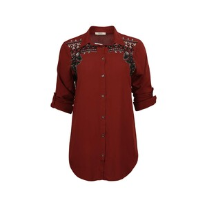 Eten Womens Top Long Sleeve TRK-9 Maroon