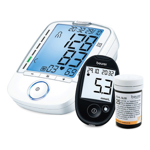 Beurer Blood Pressure Monitor BM47+Blood Glucometer GL44+Strips 25's
