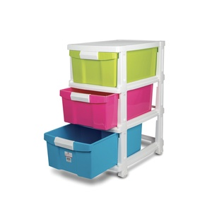 JCJ Drawer 3Tiers With Wheel 2523 Assorted Color
