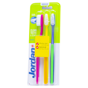 Jordan Classic Toothbrush Medium Assorted Color 3pcs