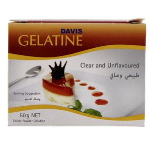 Davis Clear And Unflavored Gelatin Powder 50 Gm