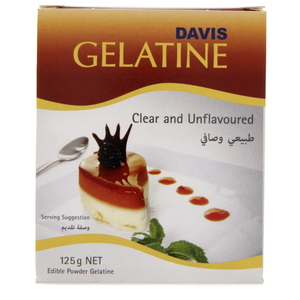 Davis Clear And Unflavoured  Gelatin Powder  125 Gm