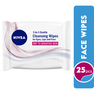 Nivea Face Wipes Gentle Cleansing Dry to Sensitive Skin 25pcs