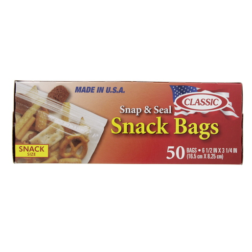 Classic Snap & Seal Snack Bag Size 16.5 x 8.25cm 50pcs