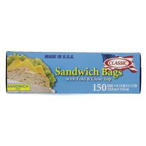 Classic Sandwich Bag With Fold & Close Top Size 15.8x13.9cm 150pcs