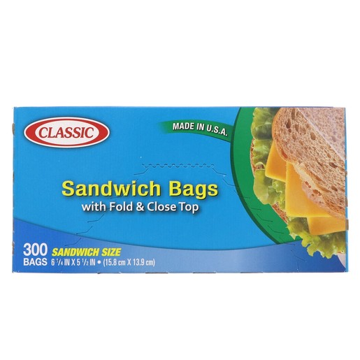 Classic Sandwich Bags With Fold And Close Top Size 15.8cm x 13.9cm 300 Bags