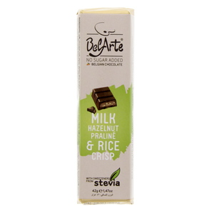 Bel Arte Chocolate Milk Hazelnut Praline & Rice Crisp 45g