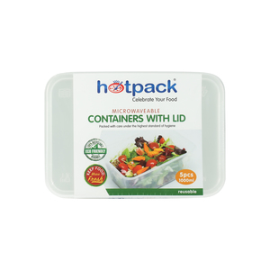 Hot Pack 1Litre Microwavable Container with Lid 5pcs