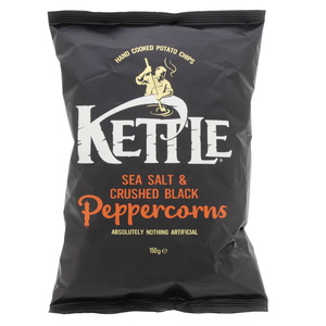 Kettle Hand Cooked Potato Chips Sae Salt & Crushed Black Pepper Corns 150g