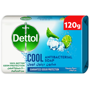 Dettol Cool Anti-Bacterial Bathing Soap Bar For Effective Germ Protection Personal Hygiene & Odour Protection Mint & Bergamot Fragrance 120g