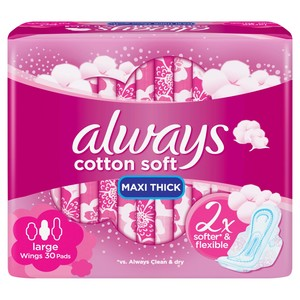 Always Cotton Touch Feel With Soothing Cream 30 Pads