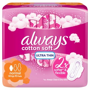 Always Soft Ultra Thin Normal Sanitary Pads 10 Count
