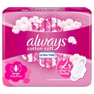 Always Soft Ultra Thin Large Sanitary Pads 8 Count
