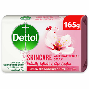 Dettol Skincare Anti-Bacterial Bathing Soap Bar For Effective Germ Protection & Personal Hygiene Rose & Sakura Blossom Fragrance 165g