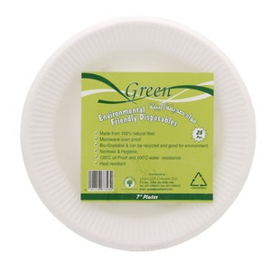 Green Disposable Foam Plates 7inch 25pcs