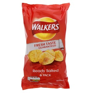 Walkers Ready Salted Potato Chips 6 X 25g