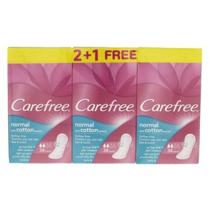Carefree Normal with Cotton Extract Pantyliners  34pcs x 3pkt