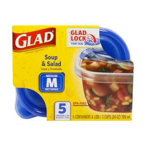 Glad Soup & Salad Rectangle Containers & Lids Medium 5pcs