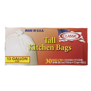 Classic Tall Kitchen Bags 13 Gallon Size 60.3cm x 74.6cm 30pcs