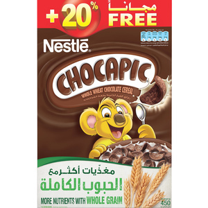 Nestle Chocapic Whole Wheat Chocolate Cereal 375g + 20% Free