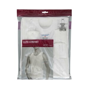 Elite Comfort Men's Vest 3Pcs Pack White Large