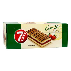 7 Days Cake Bar with Strawberry Filling 12 x 25g