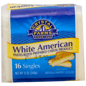 Crystal Farms American Singles White Cheese 340g