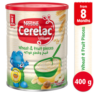Nestle Cerelac Infant Cereals With Iron + Wheat & Fruit Pieces From 8 Months 400g