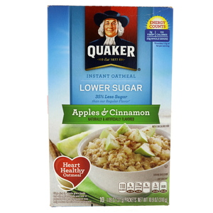 Quaker Instant Oatmeal Lower Sugar Apples And Cinnamon 310g