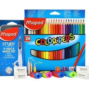 Maped Color Pencil 24Pcs + Math Set 1 Box + Eraser 4Pcs + Sharpener 4Pcs