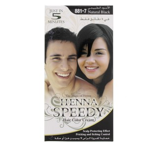 Henna Speedy Hair Color Cream Natural Black 881-7 1 Packet