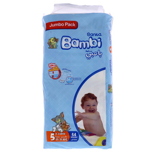 Bambi Jumbo Pack Diaper Size5, X Large, 13-25kg 54 Count