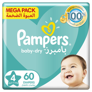Pampers Baby-Dry Diapers Up to 100% Leakage Protection Over 12 Hours Size 4 9-14kg 60pcs