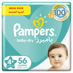 Pampers Baby-Dry Diapers Up to 100% Leakage Protection Over 12 Hours Size 4 10-15kg 56pcs