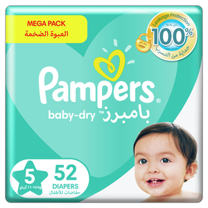 Pampers Baby-Dry Diapers Up to 100% Leakage Protection Over 12 Hours Size 5 11-16kg 52pcs