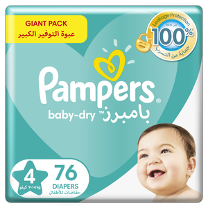 Pampers Baby-Dry Diapers Up to 100% Leakage Protection Over 12 Hours Size 4 9-14kg 76pcs