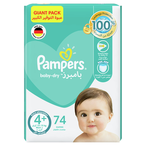 Pampers Baby-Dry Diapers Up to 100% Leakage Protection Over 12 Hours Size 4 10-15kg 74pcs