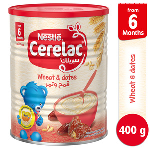 Nestle Cerelac Infant Cereals with Iron + Wheat & Dates From 6 Months 400g