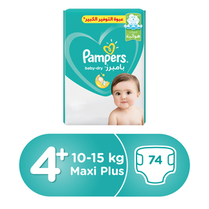 Pampers Active Baby Dry Diapers, Size 4+, Maxi Plus, 10-15kg, Mega Pack, 74pcs