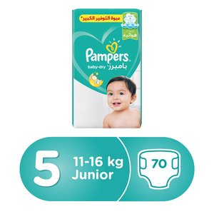 Pampers Active Baby Dry Diapers, Size 5, Junior, 11-16kg, 70 Count
