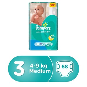 Pampers Active Baby Dry Diapers, Size 3, Midi, 6 -10kg Mega  Pack, 68pcs