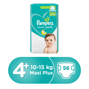Pampers Active Baby Dry Diapers, Size 4+, Large Plus, 10-15kg, Jumbo Pack, 56pcs