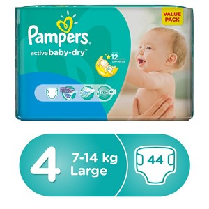 Pampers Active Baby Dry Diapers, Size 4, Maxi, 7-14kg Value Pack, 44pcs
