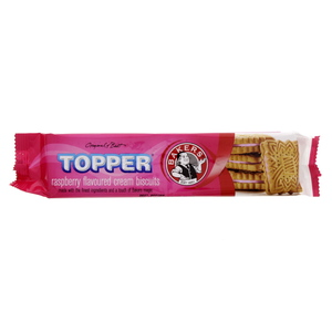 Bakers Topper Raspberry Flavoured Cream Biscuits 125g