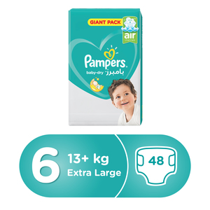 Pampers Active Baby Dry Diapers, Size 6, Extra Large, 15+ kg, Mega Pack, 48pcs